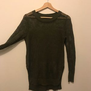 banana republic olive green mesh detail sweater